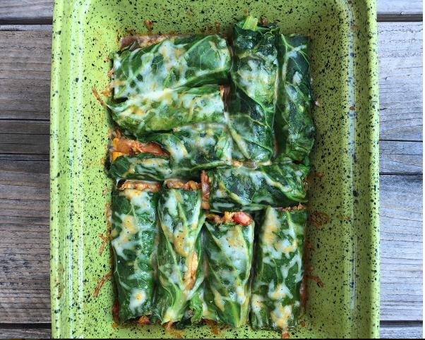 """Collard Greens Chicken & Veggie """"Enchiladas"""""""