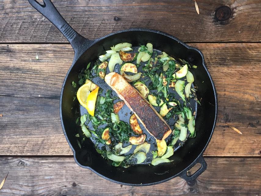 Crispy skin salmon with bok choy and zucchini