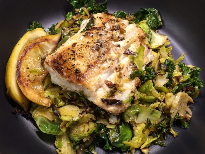 One Pan Lemon Cod with Brussels Sprouts and Kale